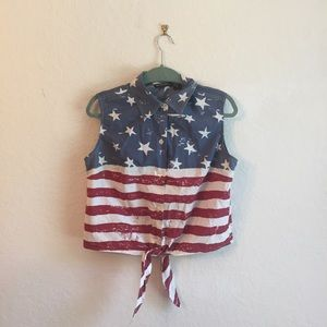 Bay Studio 100% cotton L American Flag button down